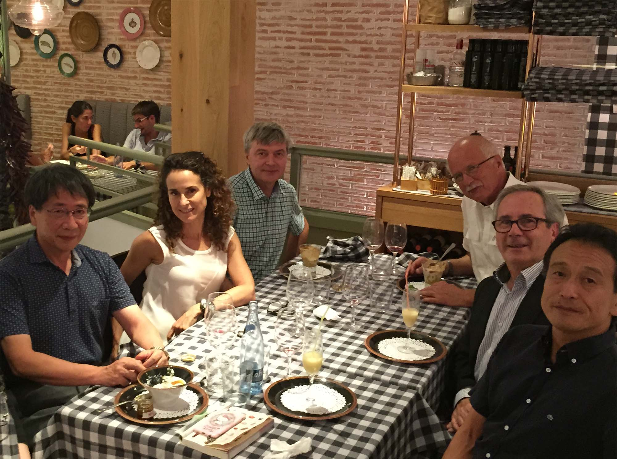 Passing of the gavel in Madrid: Passing of the gavel in Madrid: Past President Tetsuo Irifune and Secretary Sakura Pascarelli (left) at dinner with newly elected President Fernando Rodriguez (right, center) and Vice-Presidents Katsuya Shimizu (right, front), Jim Schilling (right, back). Picture taken in Madrid, Spain, at the Joint 25th AIRAPT and 53rd EHPRG International Conference on High Pressure Science and Technology, September 2015.</p /> </span></p>  </div>    <div class=